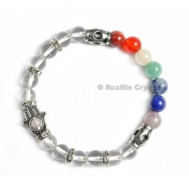 Chakra Hamsha  Bracelets With Crystal Quartz