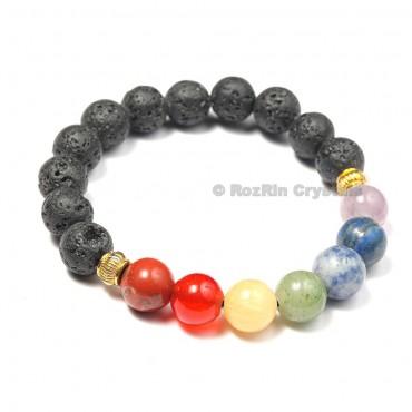 Chakra With Lava Bracelets