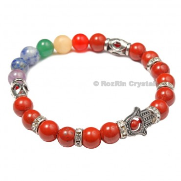Chakra Hamsa  Bracelets With  Red Jasper