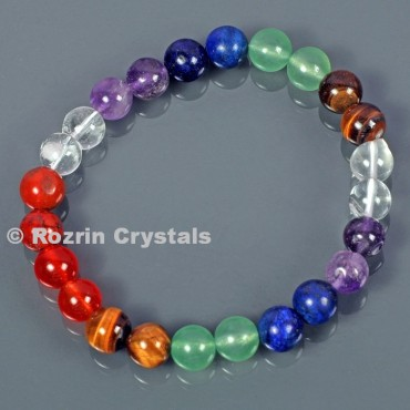 Natural stone Seven Chakra 8 mm Bracelets For Men Women Crystal Healing