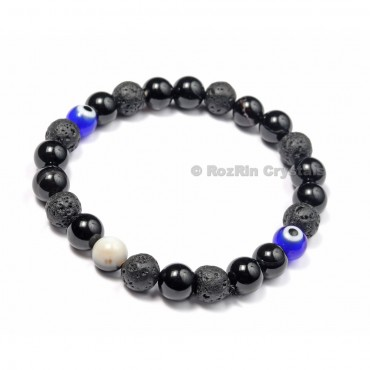 Black Obsidian and Lava eye Bracelets
