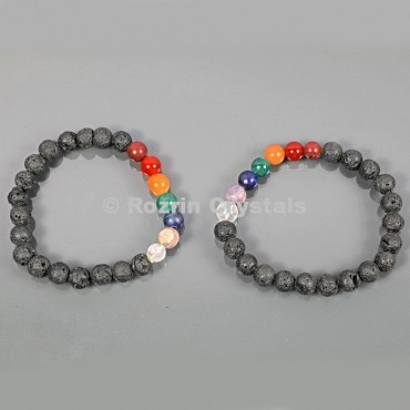 Lava Rock With Chakra 8 mm Bracelets