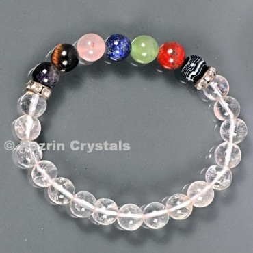 Clear Crystals With Seven chakra 8 mm Bracelets