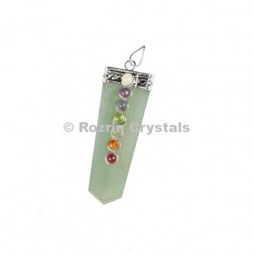 Green Aventurine Flat Chakra Pencil Pendants