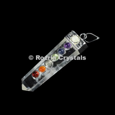 Clear Quartz Chakra Flat Pencil Pendants