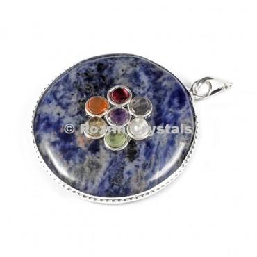 Sodalite Chakra Disc Pendants