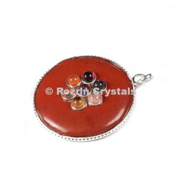 Red jesper Chakra Disc Pendants