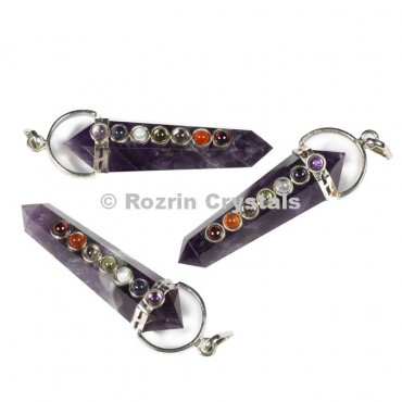 Amethyst Double Point Chakra Pendants