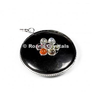 Black Stone Chakra Disc Pendants