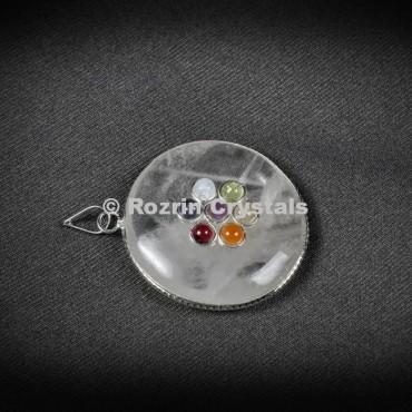 Crystal Quartz chakra Disc Pendants