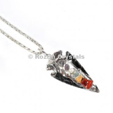 Obsidian Chakra Arrowheads Pendants
