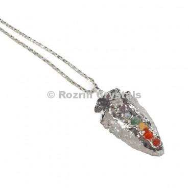 Crystal Quartz Chakra Arrowhead Pendants