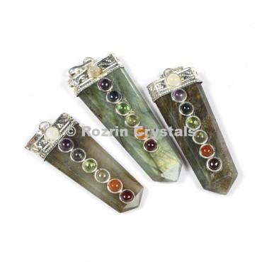 Labrodrite Flat Chakra Pencil Pendants