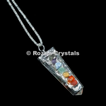 Crystal Quartz Flat Chakra Pencil Pendant