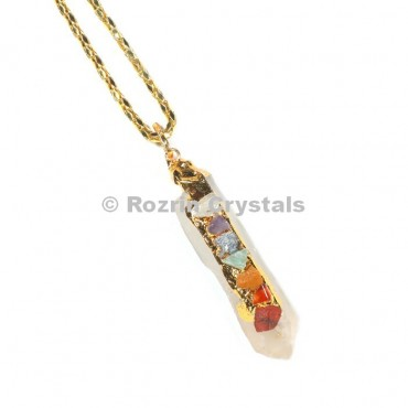 Crystal Quartz Chakra  Pencil  Pendant