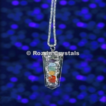 Crystal Quartz Chara Flat Pencil Pendant