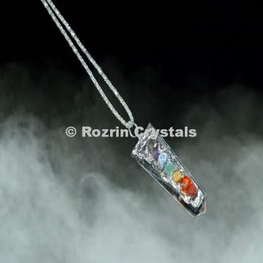 Clear Quartz Chakra Electroplated Pendants