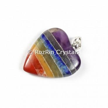 7 Chakra bonded Heart shape Pendants