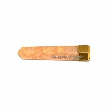 Peach Aventurine Electroplated Obelisk