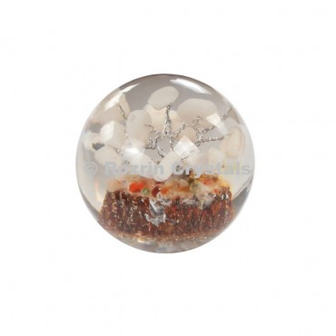 White Agate Tree in Orgone Ball