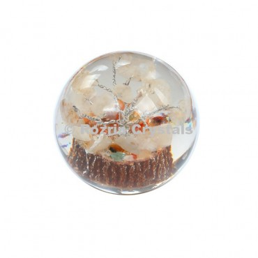 Crystal Quartz Tree in Orgone Ball