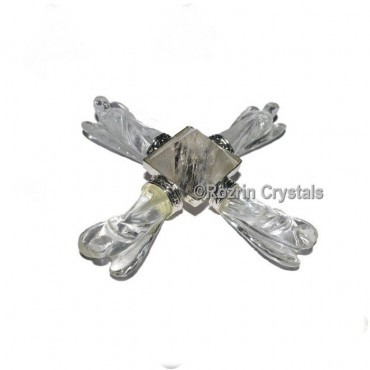 Crystal Quartz Angel with pyramid Healing Generator