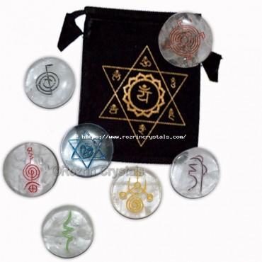 Best Quality 7 symbol crystal Round  reiki Healing Set