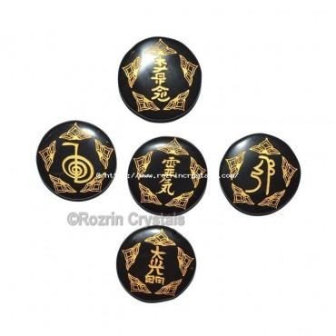 5 Symbol Black Agate Reiki Healing Set