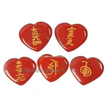Best Price Red Jasper reiki heart set