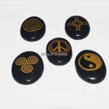 Black agate Reiki Pagan set