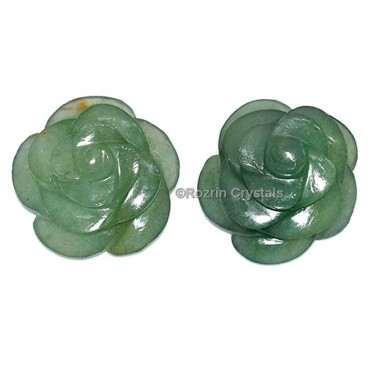 Green Aventurine Carved Gemstone Rose