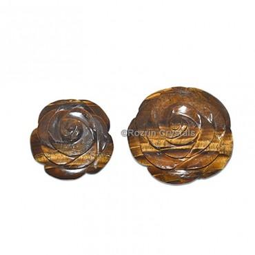 Tiger Eye Decorative Carved Gemstone Rose