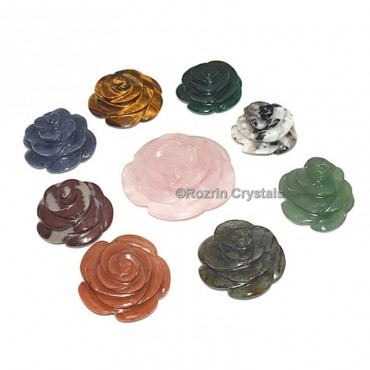 Mix stone Decorative Carved Gemstone Rose