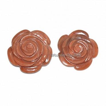 Peach Aventurine Decorative Carved Gemstone Rose