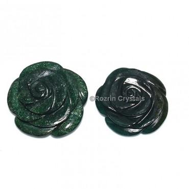 Gree Jade Decorative Carved Gemstone Rose