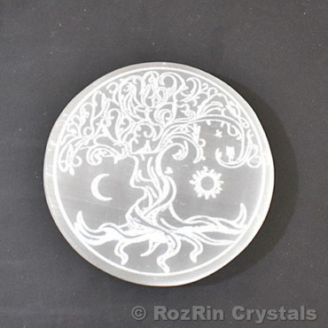 Tree of life with Moon and Sun Selenite Charging plate