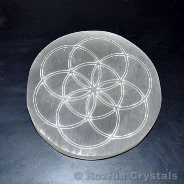 Flower of life Selenite Charging Plate