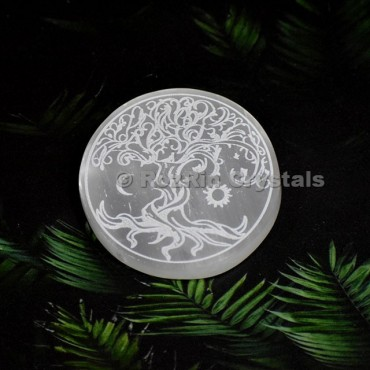 Selenite Tree Of Life Sun And Moon Healing Charging Plate