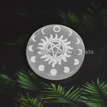 Selenite Moon Star Sun Charging Plate