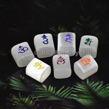 Selenite Sanskrit Symbol Cubes