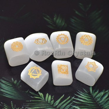 Selenite Seven Chakra Symbol Cubes