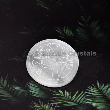 Selenite Tree Of Life Healing Charging Plate