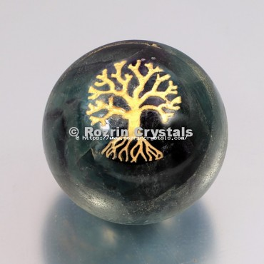 Crystal Ball Fluroite Tree Of Life Spheres