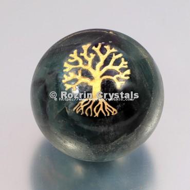 Crystal Ball Fluroite Tree Of Life Spheres