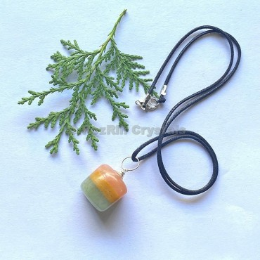Peach Yellow Green Tumbled Stone Necklace