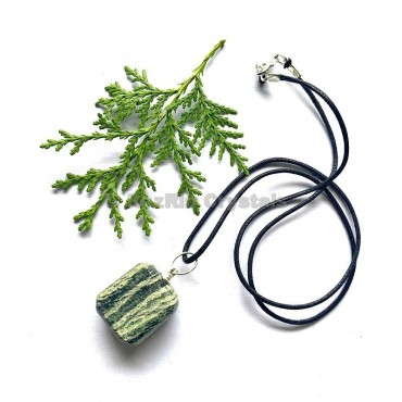 Green Zebra Tumbled Stone Necklace