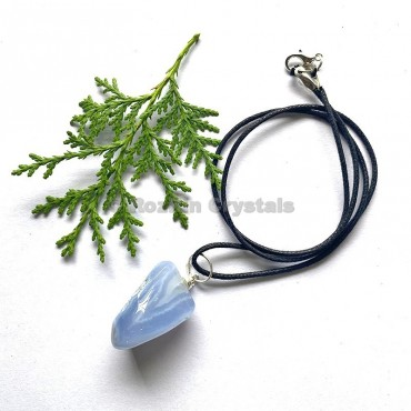 Blue Lace Agate Tumbled Stone Necklace