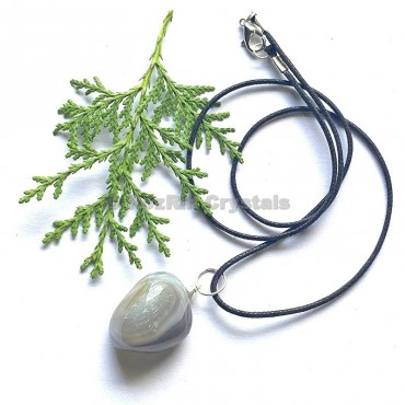 Grey Agate Tumbled Stone Necklace