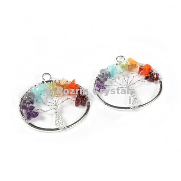 Chakra Tree Of Life Circle Pendant