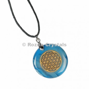 Blue Onyx Flower Of Life Pendant